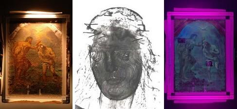 Photographie en lumière rasante Radiographie de la sculpture de la Vierge Observation sous rayonnement ultraviolet