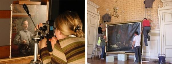 Réalisation de prise de vue photographique et Opération de décrochage d'une oeuvre  MOREZ - Hôtel de Ville Céline de GONZALVA - Dante et Virgile Huile sur toile
