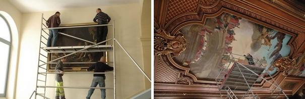 Etude préalable des décors peints du plafond du Palais de Justice de Besançon et Opérations d'accrochage d'une oeuvre MOREZ - Hôtel de Ville  Maurice LECLERCQ - Femmes d'Alger Huile sur toile